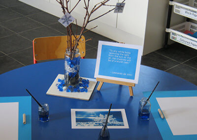 About Page Gallery, blue table set up for art